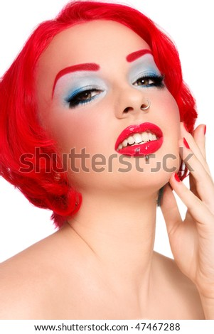 Portrait of young beautiful redhead stylish girl with fancy make-up - stock photo