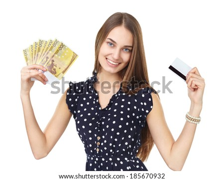 Portrait of young beautiful smiling woman holding euro banknotes money and credit card isolated on white background - stock photo