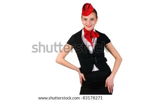portrait of young beautiful stewardess - stock photo