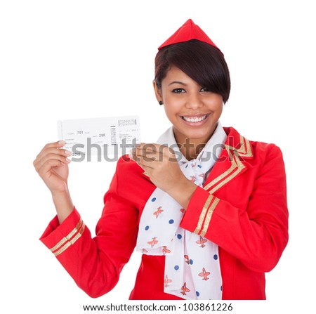 Portrait of young beautiful stewardess. Isolated on white - stock photo