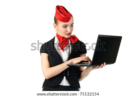 portrait of young beautiful stewardess with laptop - stock photo