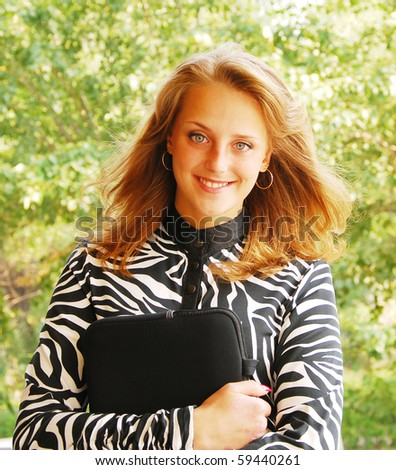 portrait of young beautiful student - stock photo