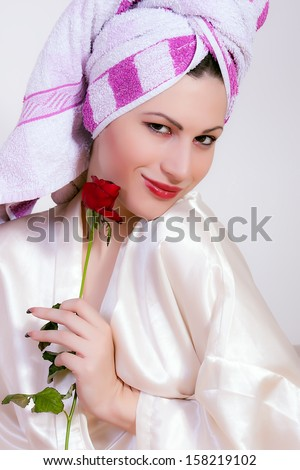 portrait of young beautiful woman after bath - stock photo