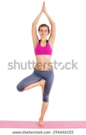 Portrait of young beautiful woman doing yoga - isolated on white. - stock photo