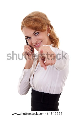 portrait of young beautiful woman on mobile phone pointing to you - stock photo