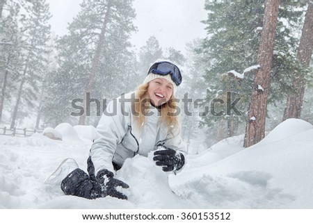 Portrait of young beautiful woman on winter outdoor background  - stock photo