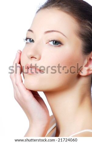 Portrait of young beautiful woman with health  complexion - stock photo