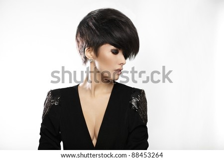Portrait of young beautiful woman with short dark hair isolated on white - stock photo