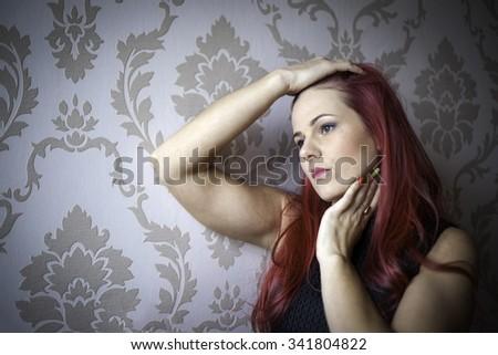 portrait of young beautiful women - stock photo