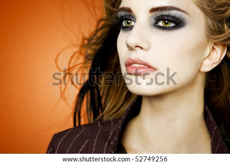 Portrait of young beautiful young woman. - stock photo