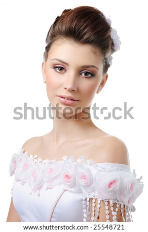 Portrait of young beauty bride with style hairstyle and make-up - stock photo