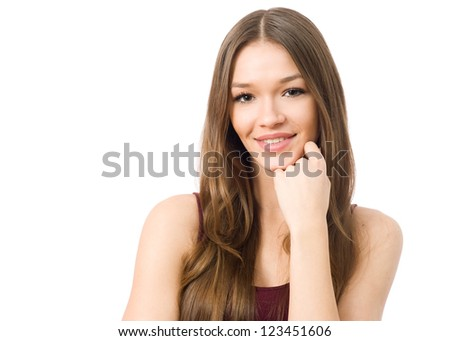 Portrait of young beauty woman, head resting on her hand - stock photo