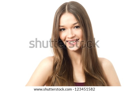 Portrait of young beauty woman smiling - stock photo