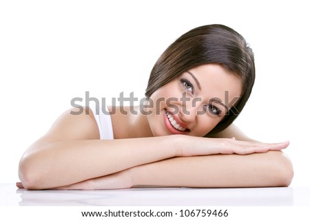 Portrait of young beauty woman, smiling and looking at camera - stock photo