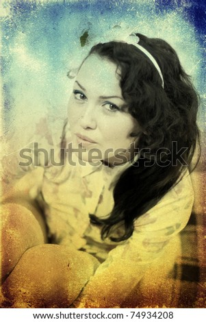 portrait of young beauty woman with curly hairs, grunge texture - stock photo