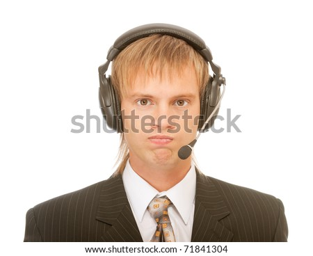 portrait of young blond man in suit and headset, isolated on white background - stock photo