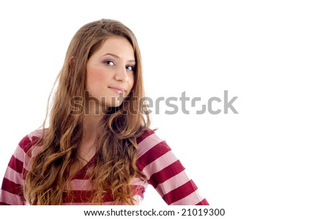 portrait of young blonde model on an isolated white background - stock photo