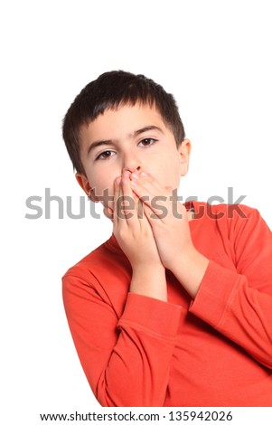 Portrait of young boy in plaid shirt with hands over mouth - stock photo
