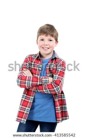 Portrait of young boy isolated on a white - stock photo