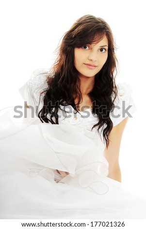 Portrait of young bride, isolated on white - stock photo