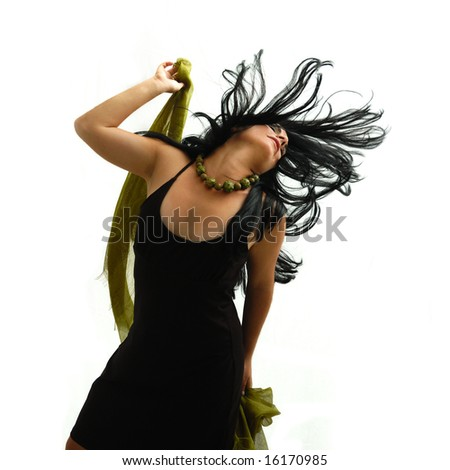 Portrait of young brunette beauty dancing - isolated - stock photo