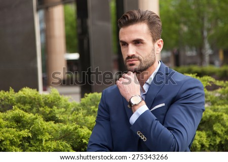 Portrait of young business man - stock photo