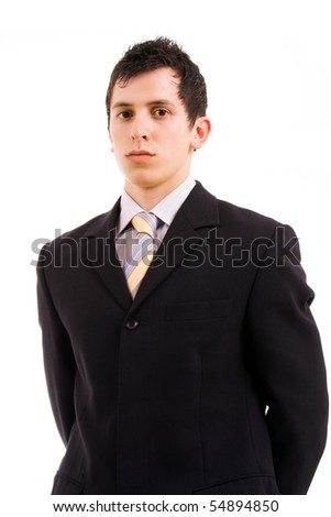 portrait of young business man, isolated on white