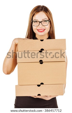 Portrait of young business woman holding file folders. image on a wight studio background. - stock photo