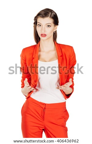 portrait of young business woman in red suit. isolated on white background. business and lifestyle concept - stock photo