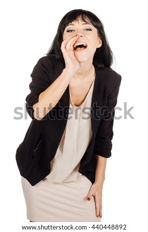 portrait of young business woman loud screaming or calling out to someone. image on a white studio background. Negative human emotion expression and lifestyle concept - stock photo