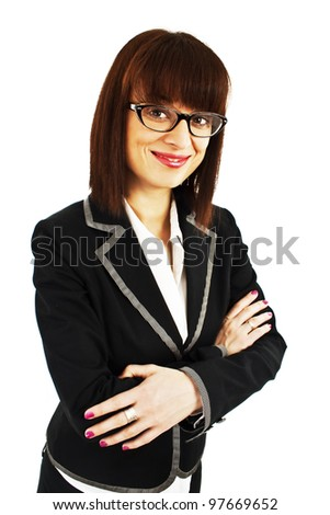 Portrait of young business woman or teacher wearing eye-glasses, isolated on white background - stock photo