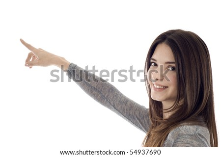 Portrait of young business woman pointing at corner - Copyspace
