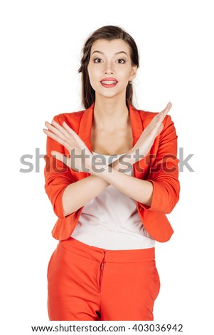 Portrait of young business woman showing stop sign. human emotion expression and lifestyle concept. image on a white studio background.