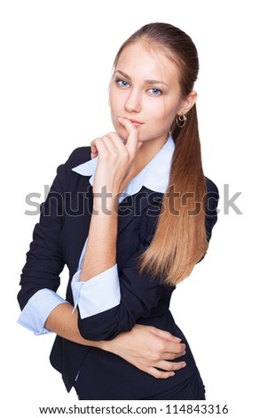 Portrait of young business woman thinking isolated on white background - stock photo