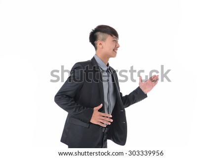 Portrait of young businessman, hand gesture