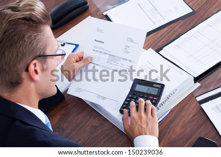 Audit Concept Calculator Stack Bills On Stock Photo