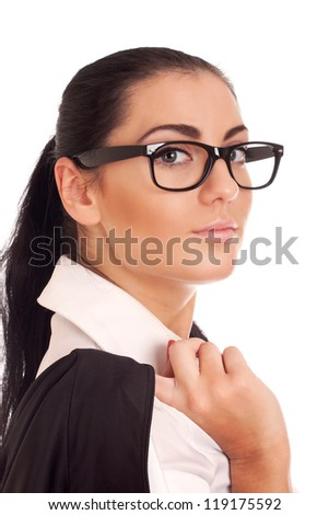 Portrait of young businesss woman - stock photo