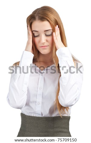 Portrait of young businesswoman having a headache, against white background - stock photo