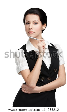 Portrait of young businesswoman in black vest, isolated on white