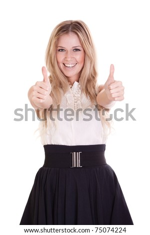 portrait of young businesswoman showing thumbs up sign over on white background - stock photo