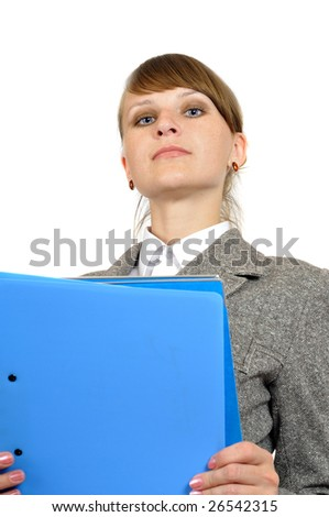 portrait of young businesswoman with portfolio in hands, isolated on white - stock photo