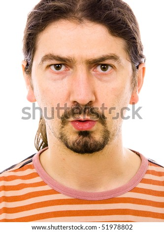 portrait of young casual man, isolated on white - stock photo