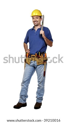 portrait of young caucasian positive handyman isolated on white