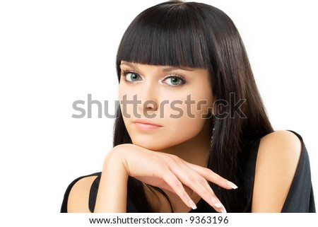 portrait of young charming brunette, over white - stock photo