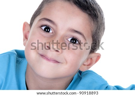 portrait of young child on white background