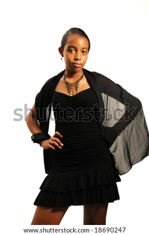 Portrait of young classy african girl in a dress - isolated - stock photo