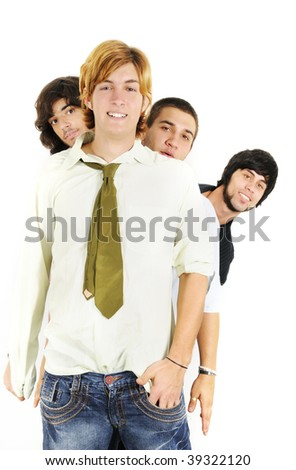 Portrait of young cool guys standing with happy expression - isolated over white - stock photo