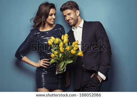 Portrait of young couple in love - stock photo