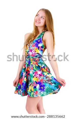 Portrait of young cute blonde smile girl with white teeth in summer dress posing isolated on white background, positive human emotion, facial expression - stock photo