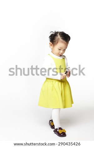 Portrait of young cute girl. isolated on white background. - stock photo
